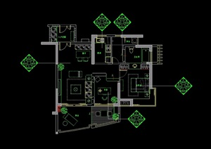 某現代詳細戶型樣板房cad施工圖
