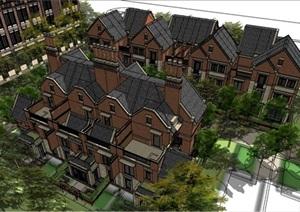 現代風格多層別墅群建筑設計素材SU(草圖大師)模型