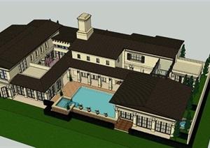 現代風格度假別墅建筑設計SU(草圖大師)模型