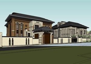 現代風格多層別墅建筑設計素材SU(草圖大師)模型
