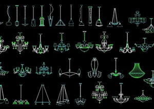 欧式风格不同的吊灯设计cad方案