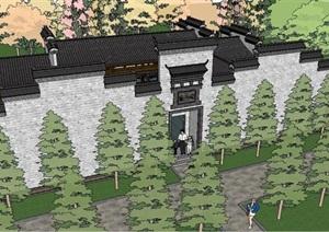中式風格詳細別墅建筑SU(草圖大師)模型