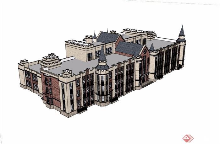 英式风格详细的学校多层建筑su模型图片