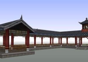 古典中式风格景观长廊设计SU(草图大师)模型素材