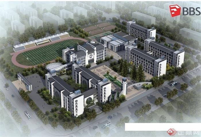 中式风格整体学校教育建筑su模型图片