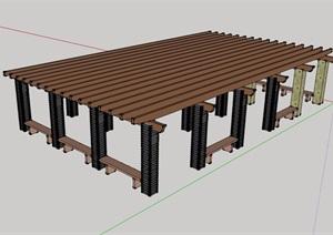 現代風格詳細完整的木廊架SU(草圖大師)模型
