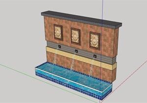 現代風格完整的水景墻SU(草圖大師)模型