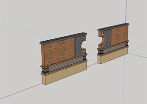 現代磚砌景墻設計SU(草圖大師)模型