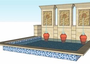 歐式風格三孔吐水景觀水池設計SU(草圖大師)模型