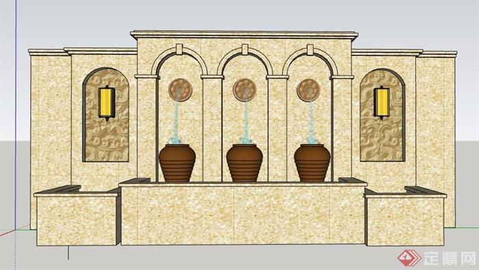 欧式大理石喷泉水景墙设计su模型