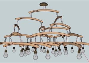 简约衣架元素吊灯设计SU(草图大师)模型