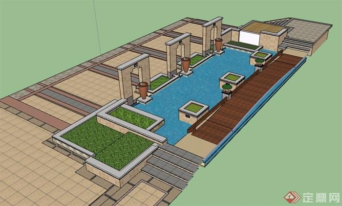 园林景观水池水景素材设计su模型