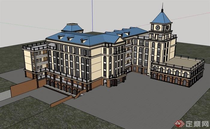 欧式风格多层小学教学楼建筑su模型