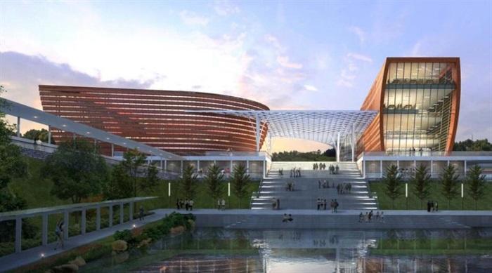 现代有机水景观轴山水绿化大学校园学院规划红砖窗台表皮建筑设计