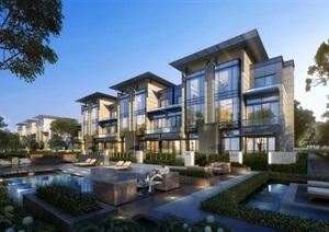 新中式高端典雅住宅别墅高层混合小区规划