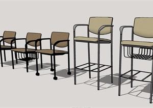 五款高脚椅座椅素材设计SU(草图大师)模型
