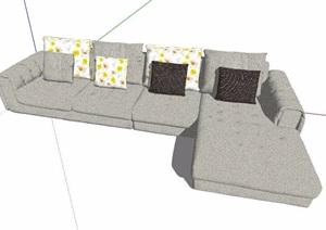 灰色转角沙发素材SU(草图大师)模型