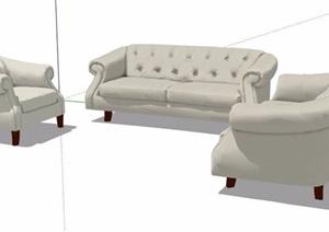 欧式风格多人沙发组合设计SU(草图大师)模型