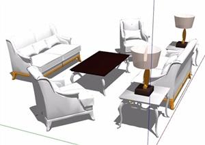 一组欧式沙发茶几组合家具SU(草图大师)模型