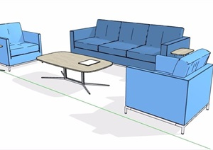 简约蓝色沙发茶几组合SU(草图大师)模型