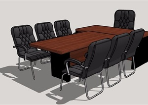 现代风格木制会议桌椅组合SU(草图大师)模型