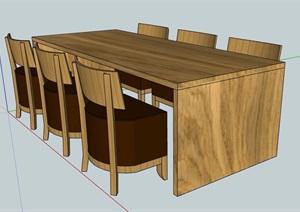 现代木制六人座桌椅组合SU(草图大师)模型