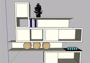 简约墙柜陈列柜设计SU(草图大师)模型