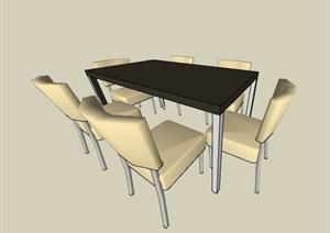简约6人座餐桌椅组合素材SU(草图大师)模型