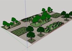 现代风格详细广场景观详细设计SU(草图大师)模型