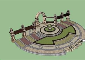 欧式风格详细的小广场景观SU(草图大师)模型