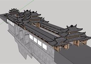 旅游景区古建筑设计SU(草图大师)模型