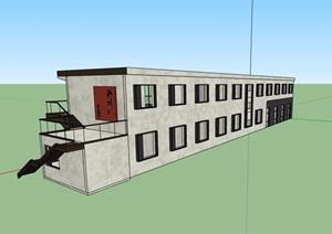 现代风格两层工业厂房建筑设计SU(草图大师)模型