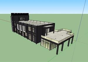 两层工业厂房建筑SU(草图大师)模型
