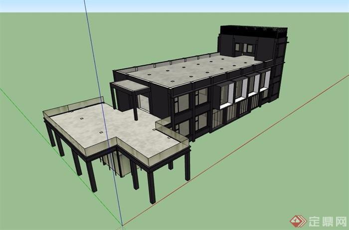 两层工业厂房建筑su模型