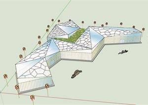 现代风格独单层文化建筑楼SU(草图大师)模型