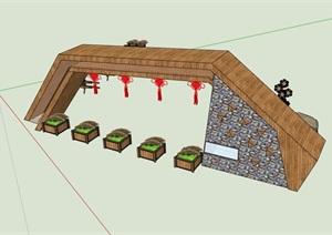 现代风格独特详细的园林景观大门SU(草图大师)模型