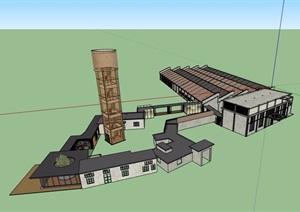某现代风格详细的工业厂房SU(草图大师)模型