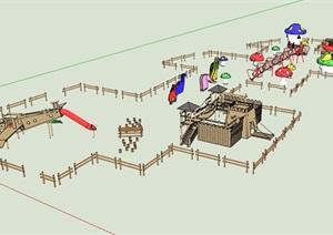 某现代整体儿童游乐设施设计SU(草图大师)模型