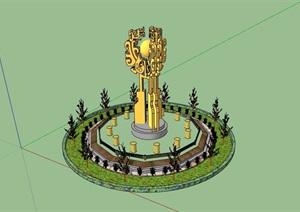 现代园林景观详细的小品素材设计SU(草图大师)模型
