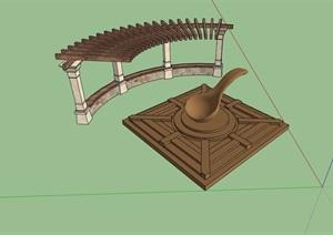 廊架小品素材设计SU(草图大师)模型