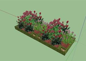 现代风格详细的花池设计SU(草图大师)模型