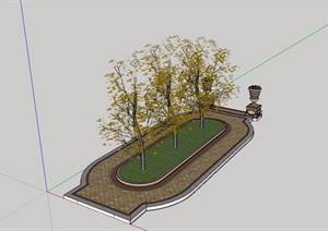 现代完整的树池设计SU(草图大师)模型
