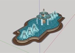 欧式风格详细的喷泉水池SU(草图大师)模型