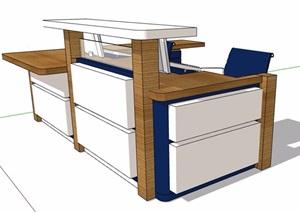 现代风格接待处服务台设计SU(草图大师)模型