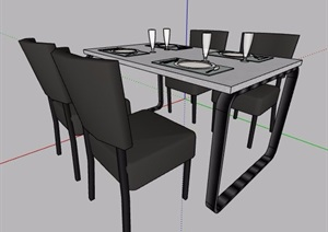 简约四人座餐桌椅组合家具SU(草图大师)模型