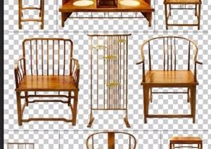 9款中式风格椅子家具psd素材