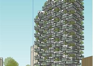 现代创意垂直森林绿色生态阳台堆叠造型高层住宅