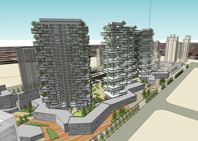 现代创意垂直森林绿色生态阳台堆叠造型高层住宅[原创]