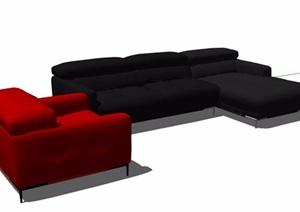 簡約紅色與黑色沙發家具SU(草圖大師)模型