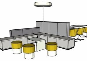 餐廳卡座區桌凳組合SU(草圖大師)模型